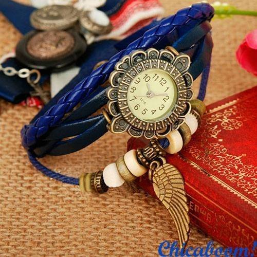 Часы-браслет с синим ремешком (крылышко)