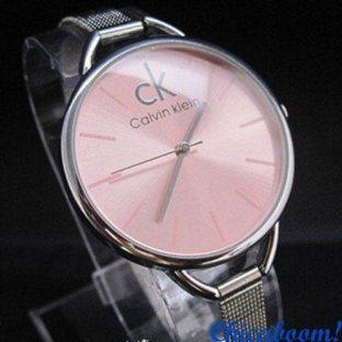 Часы Calvin Klein с металлическим браслетом (розовый циферблат)