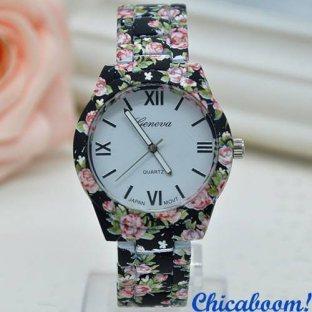 Часы Geneva с цветочным принтом №1 (металл)