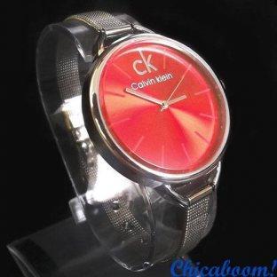 Часы Calvin Klein с металлическим браслетом (красный циферблат)