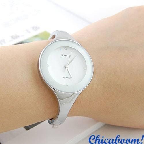 Часы Kimio с металлическим браслетом (белый циферблат)