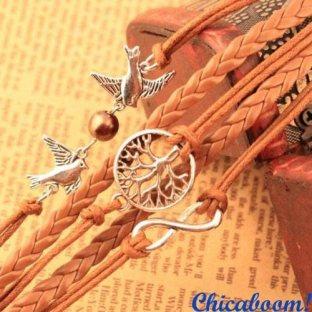 Браслет Бесконечность-голуби-дерево