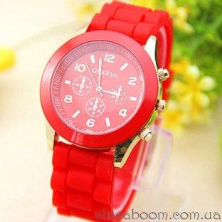 Часы Geneva с силиконовым ремешком красного цвета