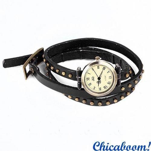 Винтажные часы JQ с длинным ремешком чёрного цвета.