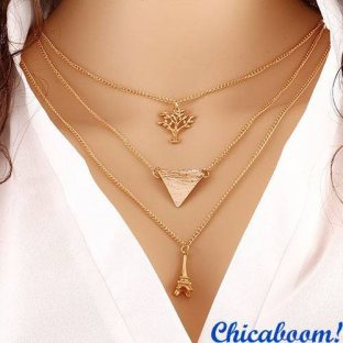 Ожерелье-цепочка (Эйфелева башня, дерево, треугольник)