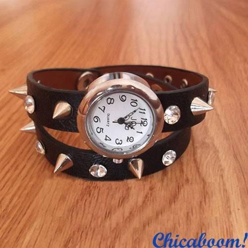 Винтажные часы JQ с длинным ремешком и шипами (коричневые)