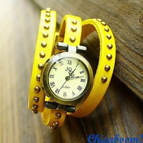 Винтажные часы JQ с длинным ремешком жёлтого цвета