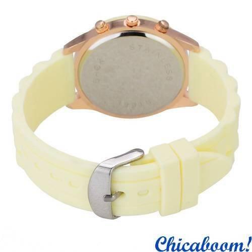 Часы Geneva со светло-жёлтым силиконовым ремешком
