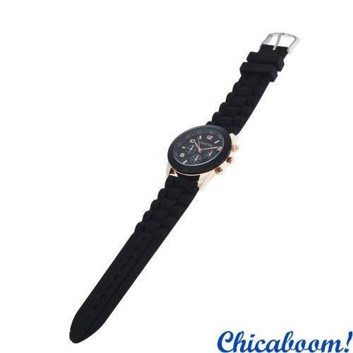 Часы Geneva с чёрным силиконовым ремешком