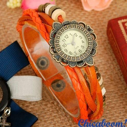 Часы-браслет с ремешком оранжевого цвета (крылышко)