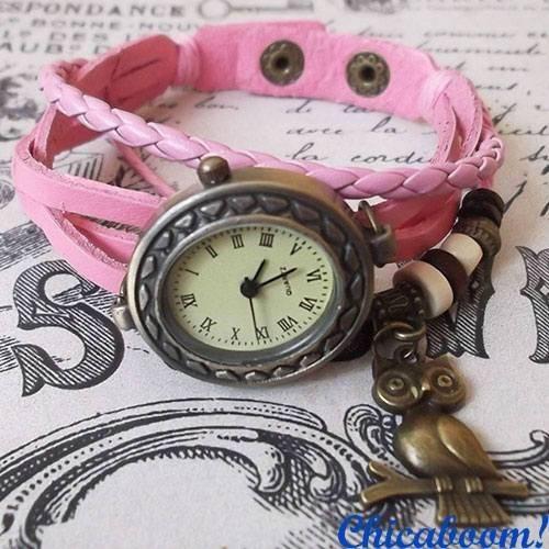 Часы-браслет с розовым ремешком (сова)