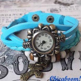 Часы-браслет с голубым ремешком (крестик)
