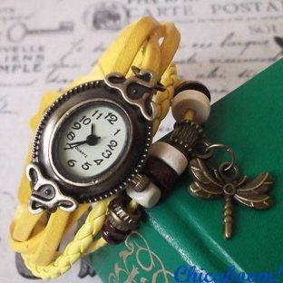 Часы-браслет с жёлтым ремешком (стрекоза)