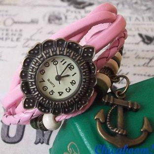 Часы-браслет с розовым ремешком (якорь)