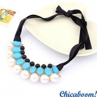 Ожерелье Молочный жемчуг (голубой цвет)