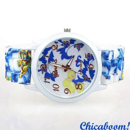 Часы Geneva с силиконовым ремешком (цветочный принт) №2