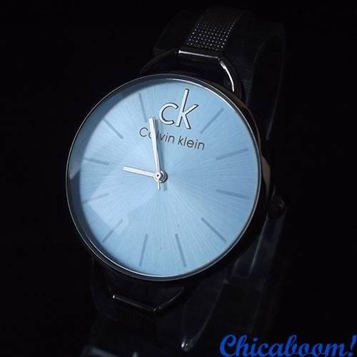 Часы Calvin Klein с металлическим браслетом (циферблат голубого цвета)