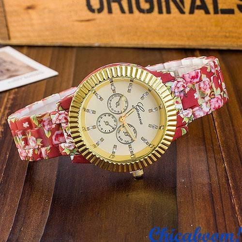 Часы Geneva с цветочным принтом (бордовые) №3