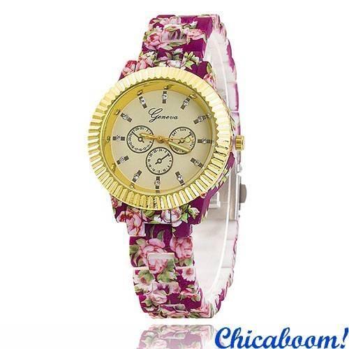 Часы Geneva с цветочным принтом (фиолетовые) №4