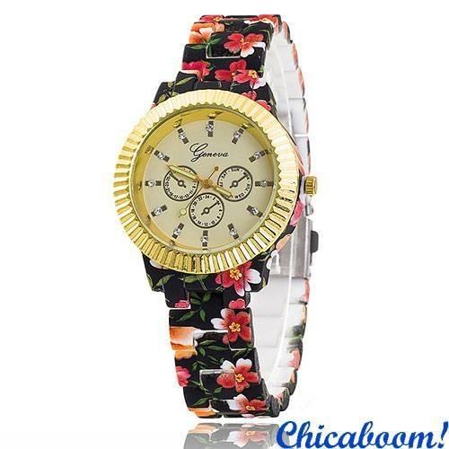 Часы Geneva с цветочным принтом (чёрные) №5