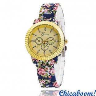 Часы Geneva с цветочным принтом (синие) №6