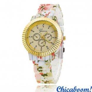 Часы Geneva с цветочным принтом (светлые) №7