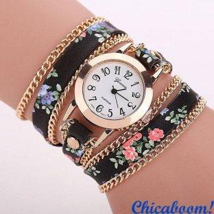 Часы с длинным ремешком чёрного цвета (цветочный принт)