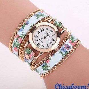 Часы с длинным ремешком голубого цвета (цветочный принт)