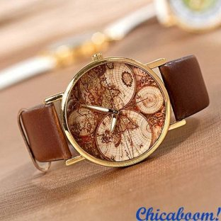 Часы Континенты (коричневый ремешок)