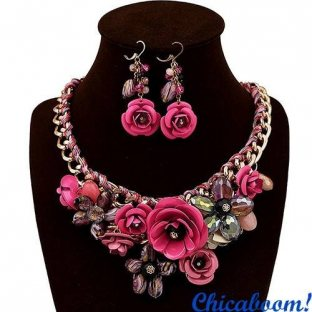 Набор Весенние цветы в розовых тонах (ожерелье и серьги)