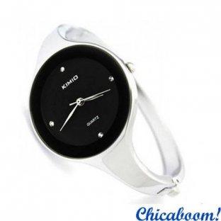 Часы Kimio с металлическим браслетом (чёрный циферблат)