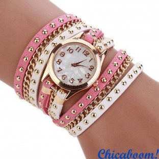 Часы с длинным ремешком белого и розового цвета (золотистая цепь)