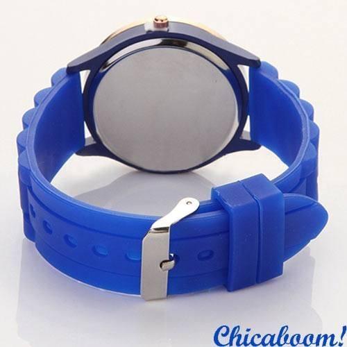 Часы Geneva с силиконовым ремешком синего цвета (стразы)