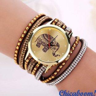 Часы с длинным ремешком коричневого цвета (слон)