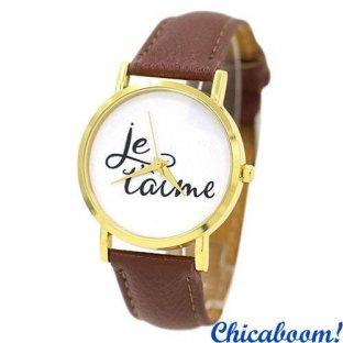 Часы Je taime с коричневым ремешком