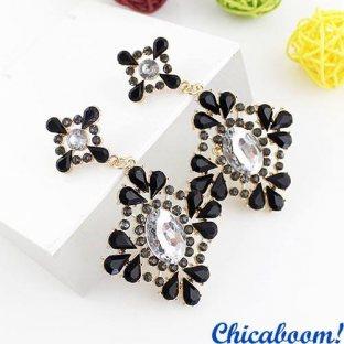 Серьги Хрустальный цветок (чёрный цвет)
