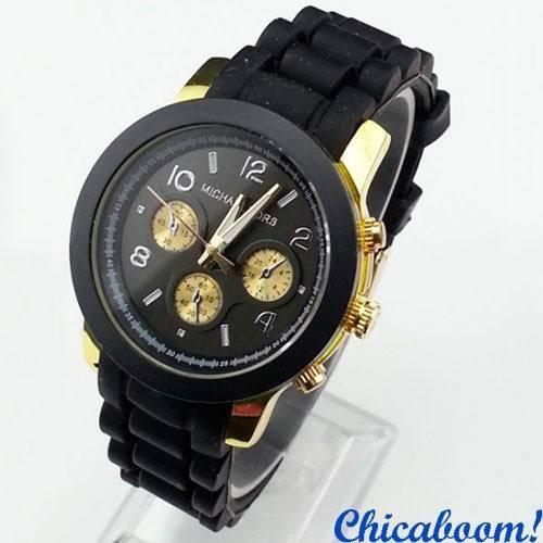 Часы Michael Kors с чёрным силиконовым ремешком