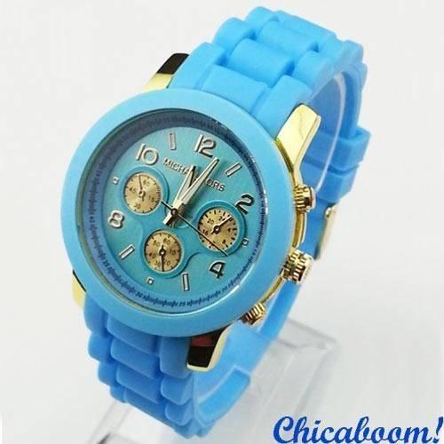 Часы Michael Kors с голубым силиконовым ремешком