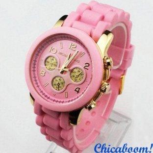 Часы Michael Kors с розовым силиконовым ремешком