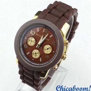 Часы Michael Kors с коричневым силиконовым ремешком