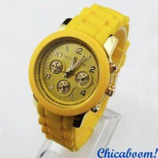 Часы Michael Kors с жёлтым силиконовым ремешком