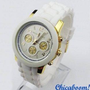 Часы Michael Kors с белым силиконовым ремешком