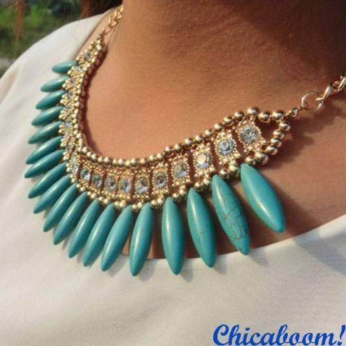 Ожерелье Слоновая кость (голубой цвет)
