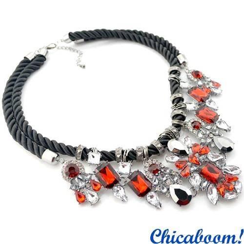 Ожерелье Shourouk с кристаллами (красное)