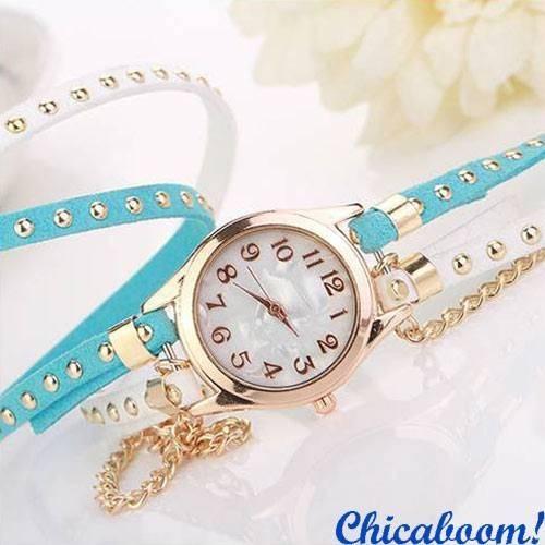 Часы с длинным ремешком бело-голубого цвета (золотистая цепь)