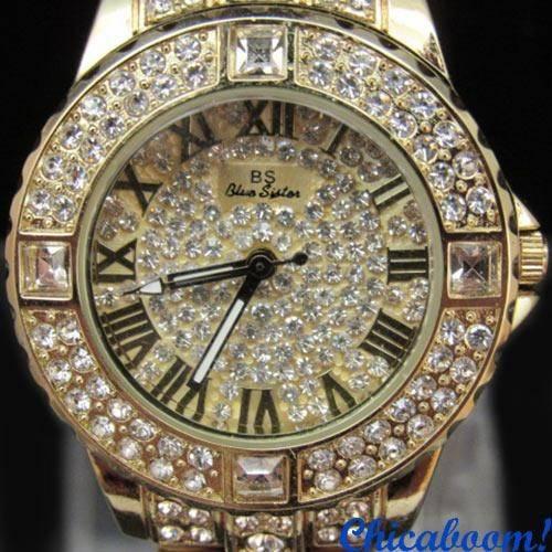 Часы со стразами (золотистый цвет)