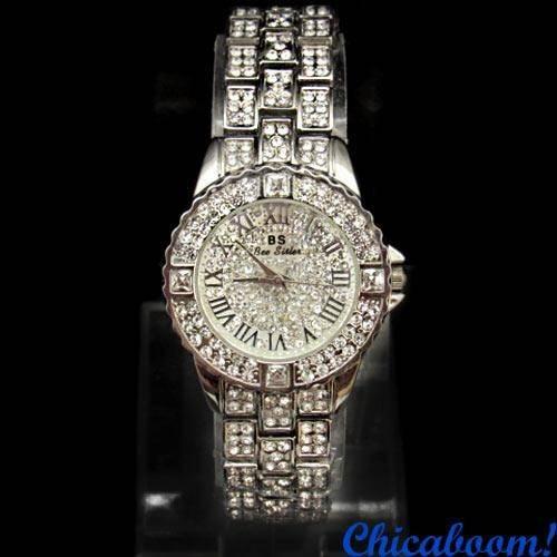 Часы со стразами (серебристый цвет)