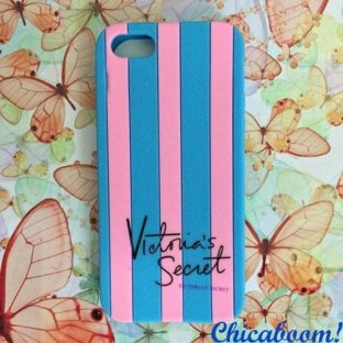 Чехол для iPhone 5/5S Victoria's Secret pink-blue (силикон)