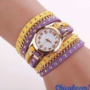 Часы с длинным ремешком жёлто-фиолетового цвета (золотистая цепь)