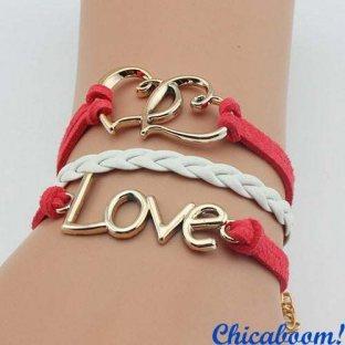 Браслет Сердечки, love (красный)